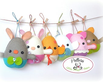 Egg Plushies PDF Pattern-Easter eggs sewing pattern-Egg animals-Easter ornaments-Baby shower favors-Easter toys-Spring animals-Felt eggs