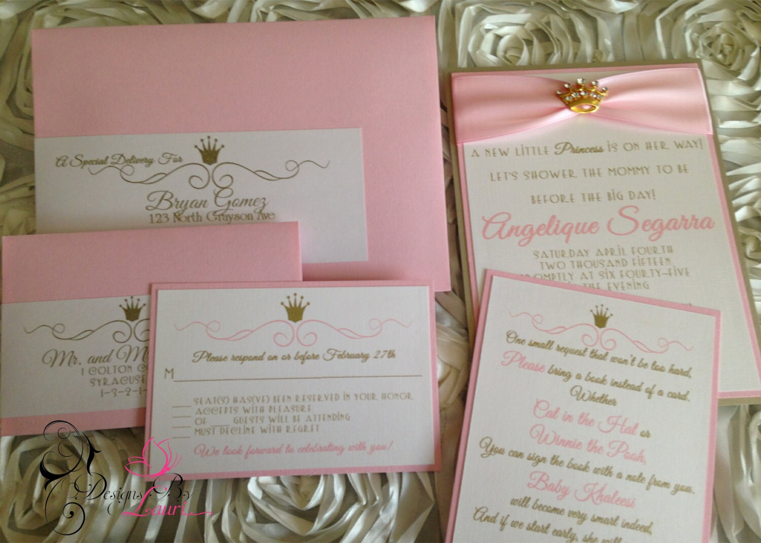 pink and gold royal princess baby shower by customdesignsbylauri
