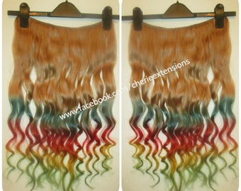 Balayage Dip Dye 8A Remy Dip Dye Ombre Balayage Invisible Flip In Wire Human Hair Extensions   Auburn & Purple,Blue,Yel
