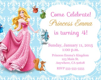 Princess Aurora, Sleeping Beauty Invitation Kid's Birthday Party Invite Birthday Invitation
