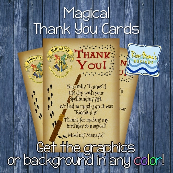 printable thank you card harry potter by rivermamasdesigns