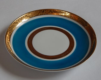 Soviet Vintage Saucer, Gold and Emerald Green Plate Tableware Vintage Lomonossov Porcelain Factory St. Petersburg Russia Plate Big Saucer