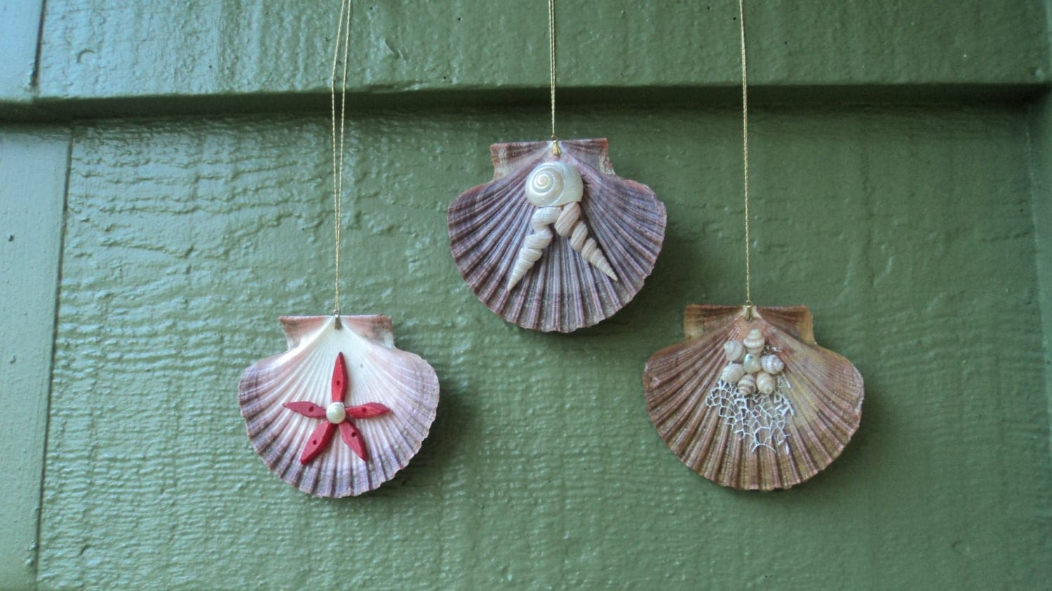 Lot of 3 Seashell Flower Embellished Mexican Flat Scallop Shell Christmas Ornaments