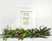 Empty White Frame w/ Holiday Greenery Garland / Portrait Orientation / Styled Stock Photography / Product Background / High Res File #477