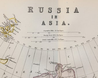 Blackie 1882 Antique Map - Russia in Asia, Siberia, Arctic Circle, Arctic Sea