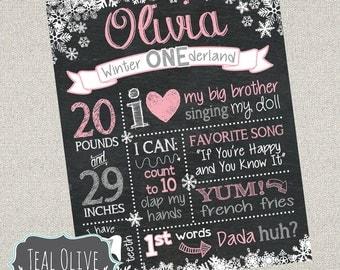 Winter ONEderland chalkboard - First Birthday chalkboard - Birthday Sign - Digital Print