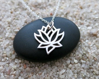 Lotus Flower Necklace, Sterling Silver Lotus Flower Charm, Yoga Jewelry