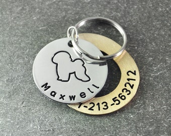 Free shipping  - Personalized dog tag - hand stamp dog tag - Identification Tag  - dog ID tags  -  Bichon  dog  tag