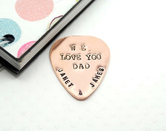 Personalized Guitar Pick, Customized, Hand Stamped Copper Guitar Pick - Best Gift for Father, Husband and Friends