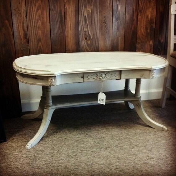 Hand Painted Distressed Coffee Table: Vintage Coffee Table Painted Duncan Phyfe Coffee Table