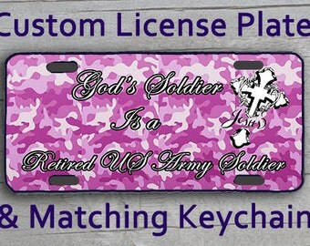 Custom Monogrammed Personalized License Plate + Matching Key Chain. Retired Army inspired Purple Camo Jesus Vanity Customized Car Tag #2540