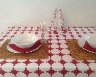Bold Moroccan inspired red and white tablecloth for 4-6 seater table.