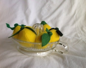 Felt lemon. Felt food for play kitchens or home kitchen decor.