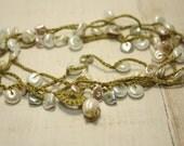 Lime Green Beaded Crochet Necklace, Handmade Crochet Necklace,