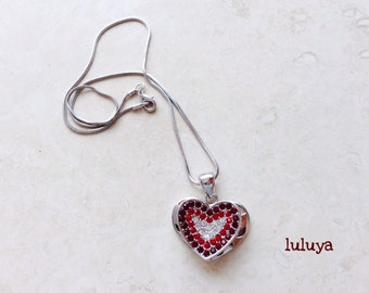Beautiful Red Heart Crystal Necklace Pretty Great Gift Birthday Valentine's Day