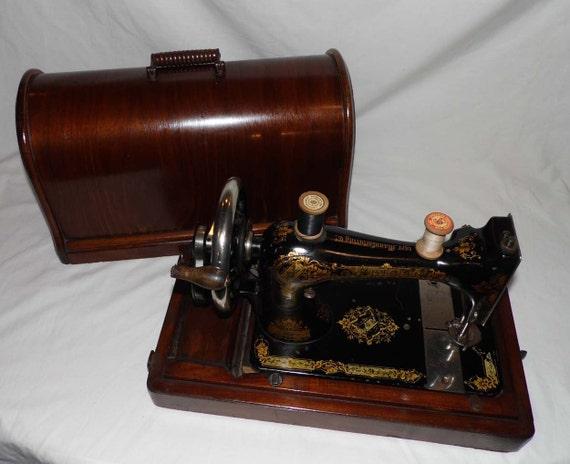 antiker deutscher SINGER 1900 Nähmaschine Hand Kurbel ~ Nähmaschine Hand