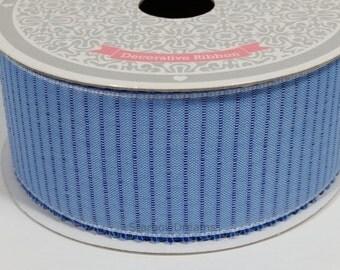 "1 1/2"" Stitched Stripes Ribbon - Blue - 10 Yards"