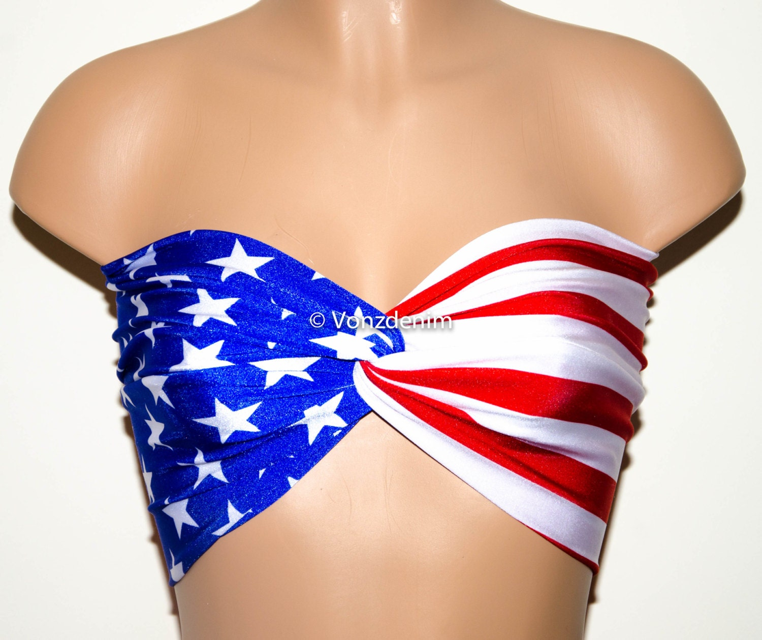 Description You are a beach babe and you are patriotic too! This American flag bikini will make upcoming festivities one for the books! Bandeau top.
