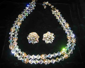 Stunning 60s Double Strand Rhinestone & AB Cut Crystal Necklace  Earrings