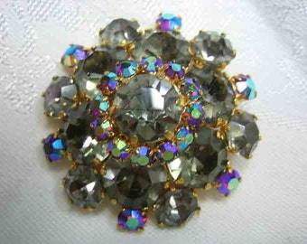 Vintage High Dome Prong set Smoke Rhinestone Brooch