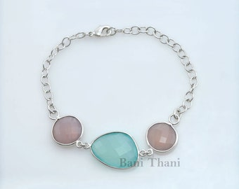 Silver Bracelet Bangle-Pink Chalcedony and Aqua Chalcedony Faceted Gemstone-925 Sterling Silver-Gorgeous Gift Jewelry for Christmas