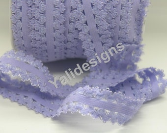 Lt Purple 3/4''  Picot Edge Stretch Lace Frilly edges elastic webbing,Lace for Headbands,Wholesale Headbands YTA63 5 or 10 or 50 yards