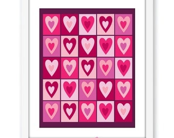 Full of hearts modern wall art digital print, hearts instant download, love, valentines gift, partner gift, room decor, modern art, abstract