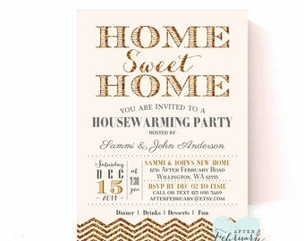 Gold HOUSEWARMING Invitation // Gold Glitter-Simulations Chevron // Home Sweet Home Housewarming Party Invite // Printable No.347