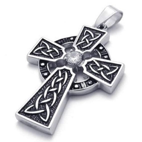 stainless steel irish knot celtic cross mens womens. Black Bedroom Furniture Sets. Home Design Ideas
