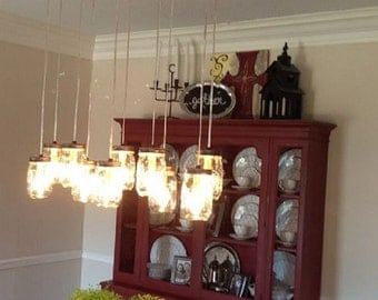 12 Light Mason Jar Chandelier - Rustic Cedar - Ready to Hang