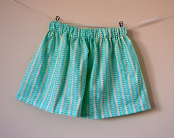 Girls Skirt - Turquoise Leaves - Fits size 2T to 5T - Ready to Ship