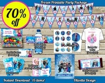 Frozen Birthday Party Package 70% OFF SALE 15 items included! Printable Party Banner Food Tent Labels - Digital File - Instant Download
