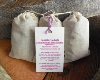 Lavender Dryer Bags/Sachets - Set of 3