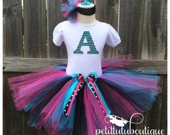 Chevron Initial Letter Birthday Tutu set any size available 12m to 8y FREE Headband