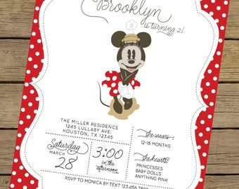 Vintage Minnie Invitation   Minnie Mouse Invite   Red Minnie Mouse Invitation   Minnie Mouse Party   Minnie Mouse Invitation