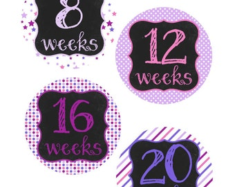 Weekly Pregnancy Stickers, Pregnancy Announcement, Pregnancy Belly Stickers, Pregnancy Photo Prop, Maternity Stickers, P34