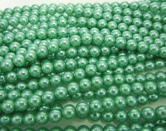 Jade Green Pearl, Czech Round Glass Imitation Pearls in 2mm, 3mm, 4mm, 6mm, 8mm, 10mm, 12mm