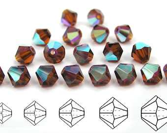 Dark Topaz AB coated, Czech MC Bicone Bead (Rondell, Diamond Shape) in 4mm and/or 6mm, Dark Brown Color
