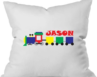 Personalized pillow for little boy's room. Train pillow. Primary colors. Train theme. Train bedroom decor pillow. Pink pig printing.