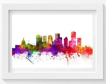 Edmonton Alberta Skyline In Color Poster, Home Decor, Gift Idea 02