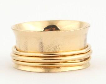 Wedding bands 14K Gold Band  Wedding Rings, Rings, Spinner Ring Women's Gold ring 14k gold,