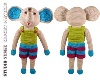 Crochet toy animal, stuffed elephant DAD, amigurumi PATTERN pdf
