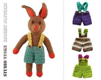 Crochet PATTERN bunny, amigurumi bunny pdf, small rabbit 4 pants, stuffed toy tutorial