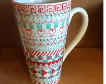 Aztec Design Red, Grey & Green Tall Latte Mug
