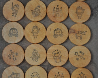 Fairy Tale Wooden Matching Game – A Montessori and Waldorf Inspired Wood Toy - Travel Game - Stocking Stuffer - Small Gift