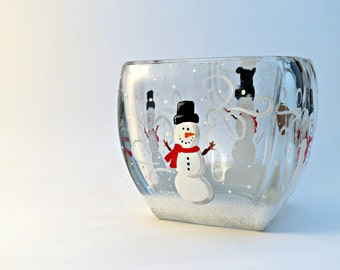 Snowman bowl - candle holder