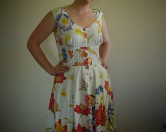 Bright Floral Vintage 1950's inspired dress size 14