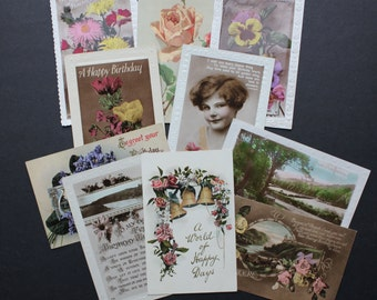 Vintage Postcards Set # 6 10 Early 1900s Collectables Greetings Birthday Arts Crafts Collage Scrapbooking Cardmaking Supplies