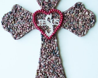 Contemporary Layered Handmade Decorated Wall Cross Semi-precious Stone Chips