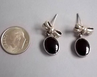 Pair of  Vintage Estate .925 Sterling Silver Oval Black Stick Earrings 6.28g E1628